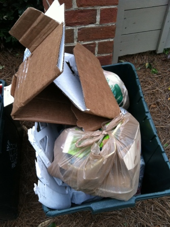 A good week's haul of trash removed from my path. It feels good to see the recycling man pick this up every Wednesday.