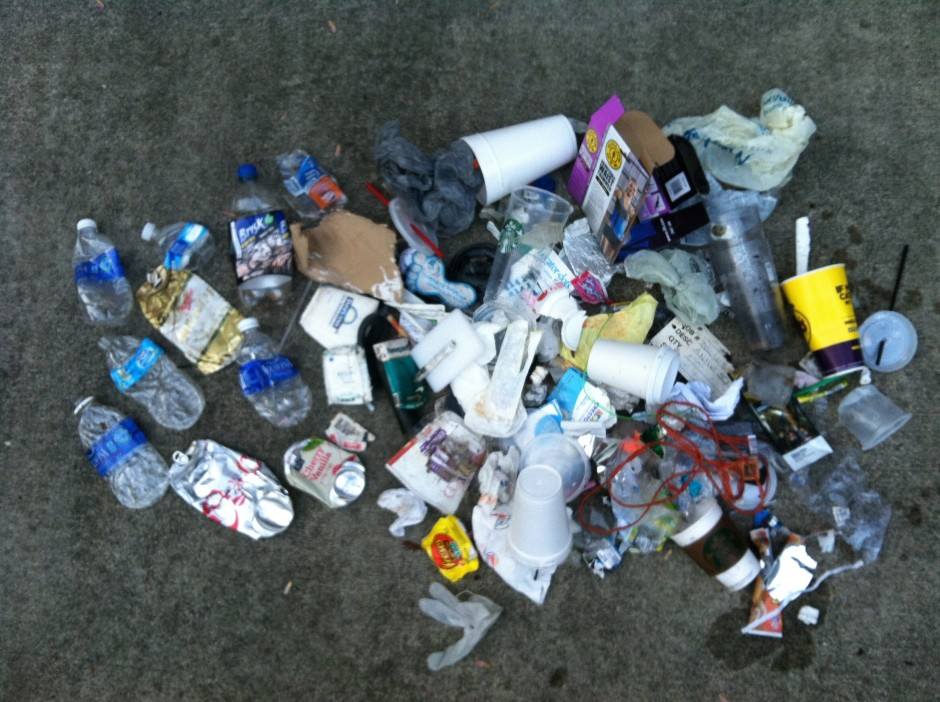 My Thursday-Friday-Saturday morning haul in one lump. Granted, it's sordid and messy and gross, but it's worth the effort to show people that we can do better by our environment.