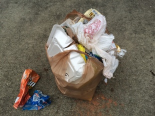 This morning's full bag before the ceremonial dumping out on the driveway.