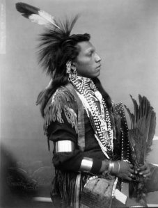 Mort sent this photo of Mi-Khasga, or White Swan, of the Omaha or Maha Nation. Image taken 1883. Tribes roamed the Sand Hills to follow abundant game but the white man put a stop to that.