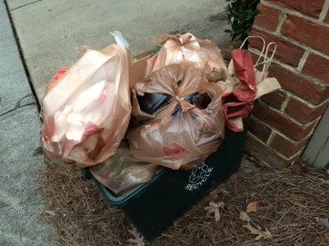 Hey, it wouldn't be a blog on litter if there wasn't at least one photo: here's one week's worth of junk set out for the recycling truck.