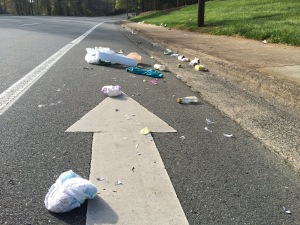 The arrow points to the scene of the crime, but the moron that spilled this trash just kept on going. How can we put a stop to such crimes against nature?