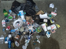 I was sweating my first weekend morning out, and for good reason. There's no telling how many items were picked up among this 10 - 12 pound bonanza of litter.