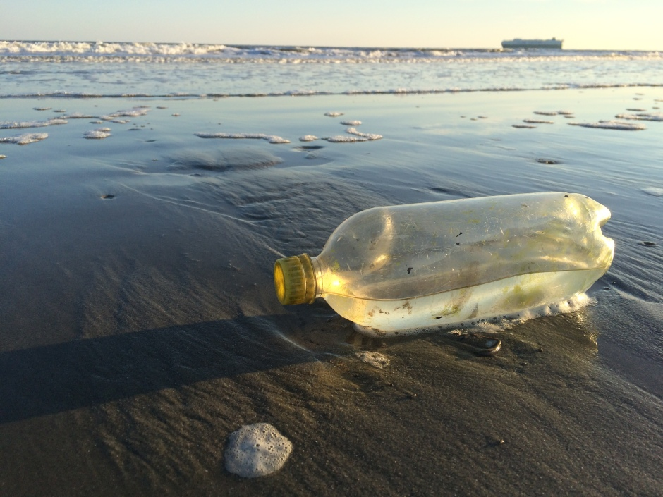 I came across this bottle as I traipsed the beach at Sullivan's Island, South Carolina. It will be one less piece of plastic Slat and The Ocean Cleanup won't have to worry about.